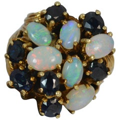 Huge Opal and Sapphire 14 Carat Gold Cluster Cocktail Ring