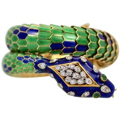 Enamel Articulated Snake Serpent Bracelet Diamond Head 18 Karat