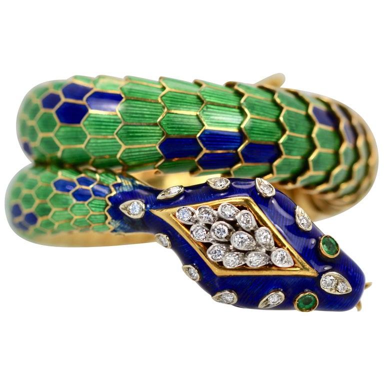 Enamel Articulated Snake Serpent Bracelet Diamond Head 18 Karat For Sale