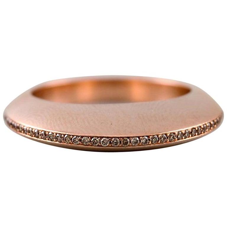 Georg Jensen 18K Rose Gold Dune with Brilliant-Cut Diamonds Ring