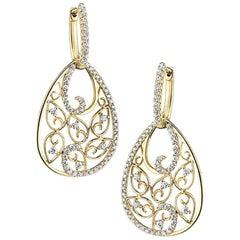 Vintage Inspired Yellow Gold Diamond Earrings ER713