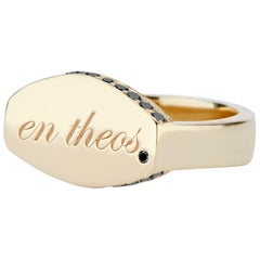 "14 Karat Yellow Gold and Black Diamond En Theos ""A God Within"" Signet Ring"
