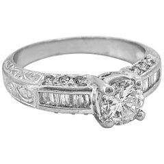 Estate Engagement Ring .65 Carat Diamond and Platinum
