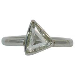 Certified VS 1.07 Carat Trillion Rose Cut Diamond and Platinum Engagement Ring