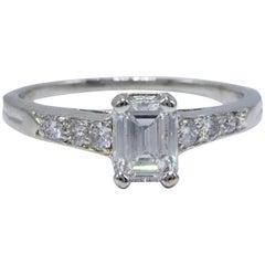 Tiffany & Co Vintage Diamond Engagement Ring Emerald & Rounds 0.69 TCW Platinum