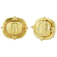 Elizabeth Locke 18 Karat Yellow Gold Clip and Post Earrings