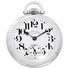 Hamilton Stainless Steel Railway Special Manual Pocket Watch