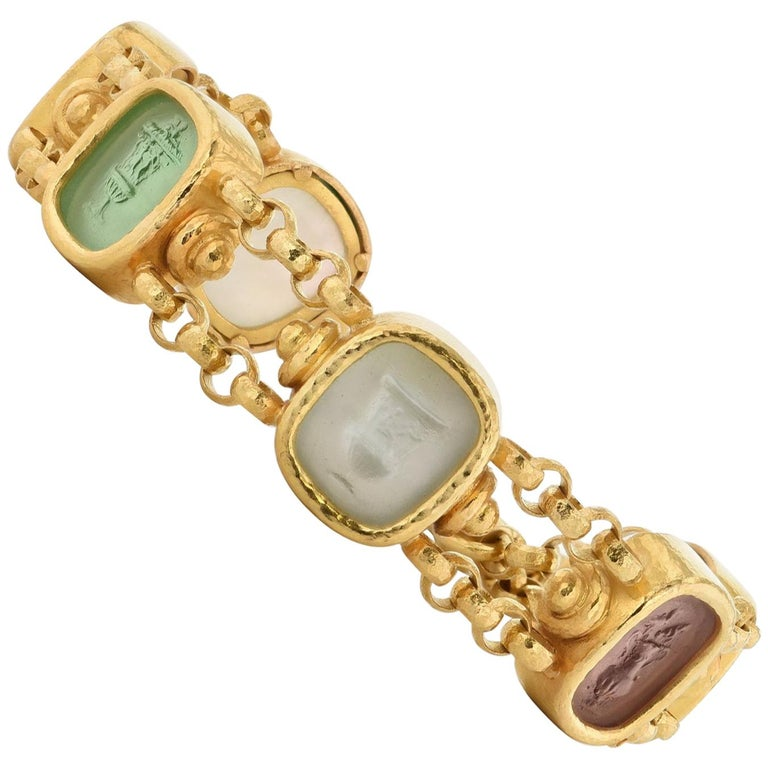 Elizabeth Locke Six Venetian Glass Urn Intaglio Yellow Gold Toggle Bracelet