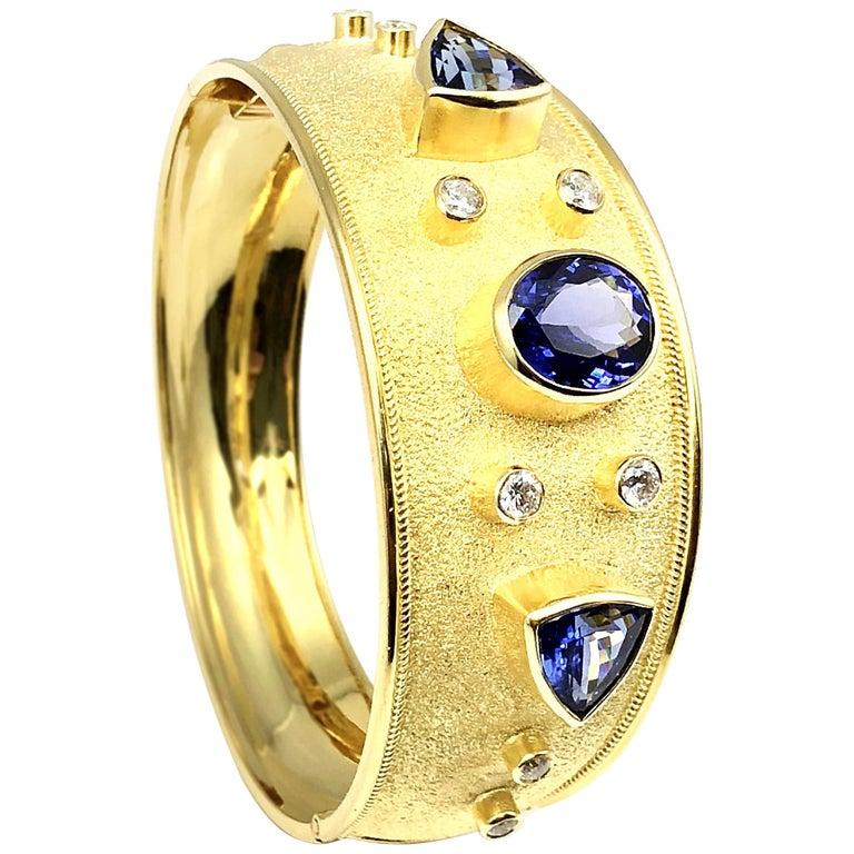Georgios Collections 18 Karat Yellow Gold Diamond Tanzanite Byzantine Bracelet