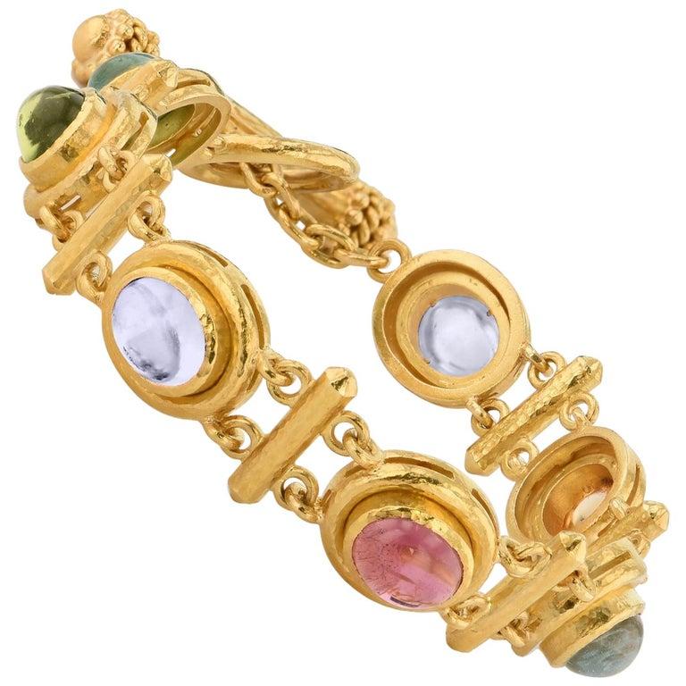 Elizabeth Locke Seven Multi-Color Stone Yellow Gold Toggle Bracelet For Sale