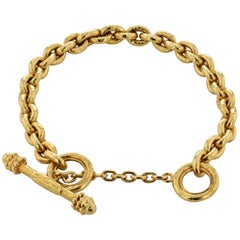Elizabeth Locke 18 Karat Yellow Gold Toggle Bracelet