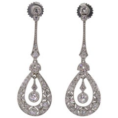 Diamond Platinum Drop Earrings