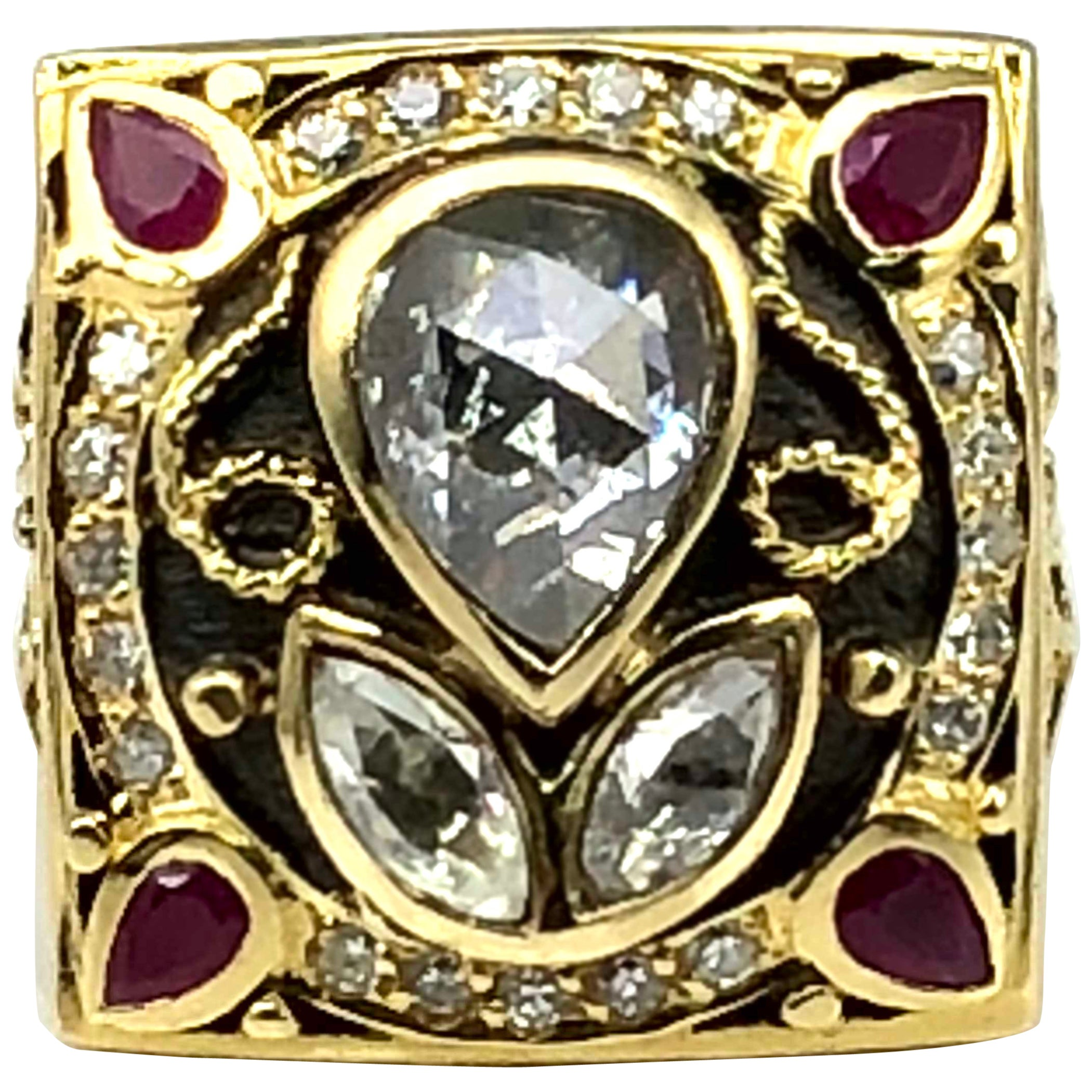 Georgios Collections 18 Karat Yellow Gold 2.36 Carat Old Cut Diamond Ring