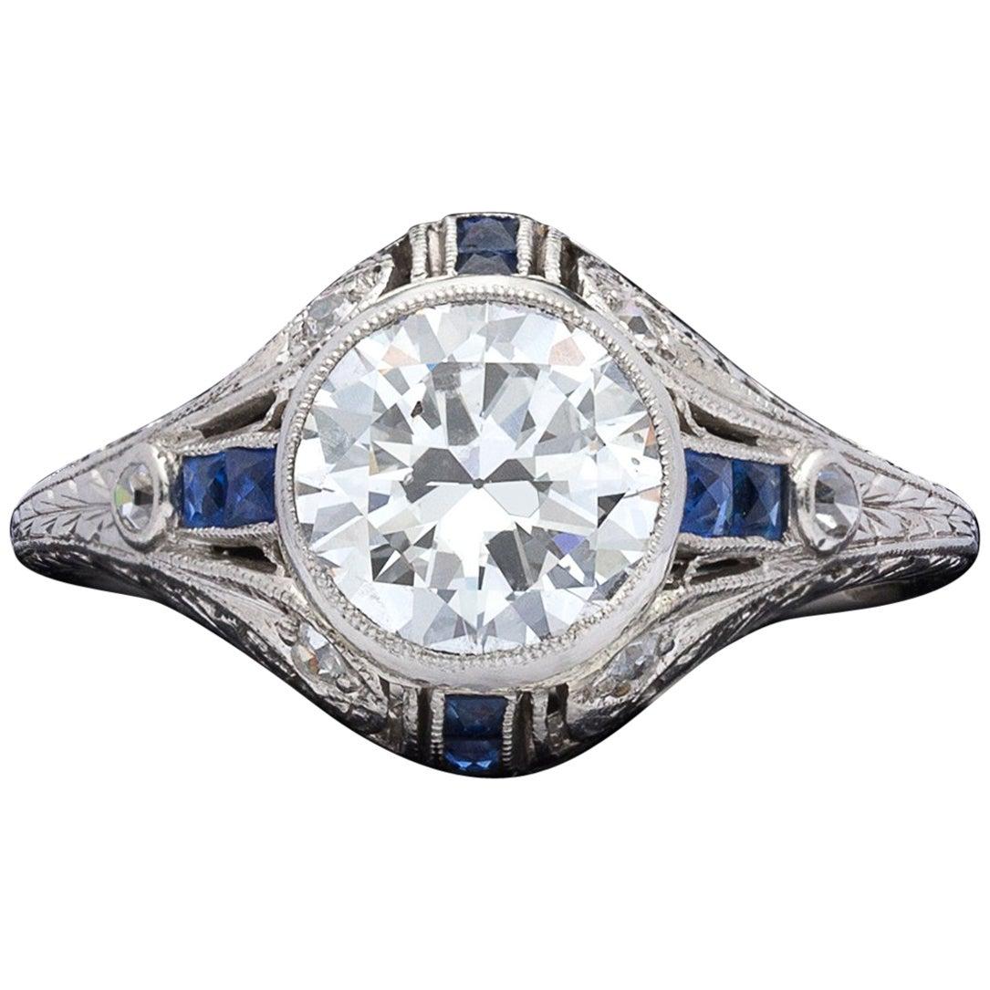 1.21 Carat Diamond and Sapphire Antique Engagement Ring