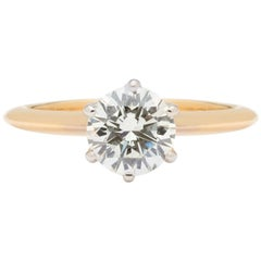 GIA 1.02 Carat F/VS2 Diamond in Yellow Gold Six Prong Ring