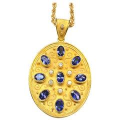 Georgios Collection 18 Karat Yellow Gold Diamond and Tanzanite Byzantine Pendant