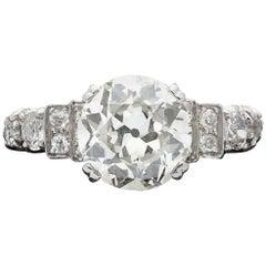 3.67 Carat European-Cut Diamond and Platinum Ring