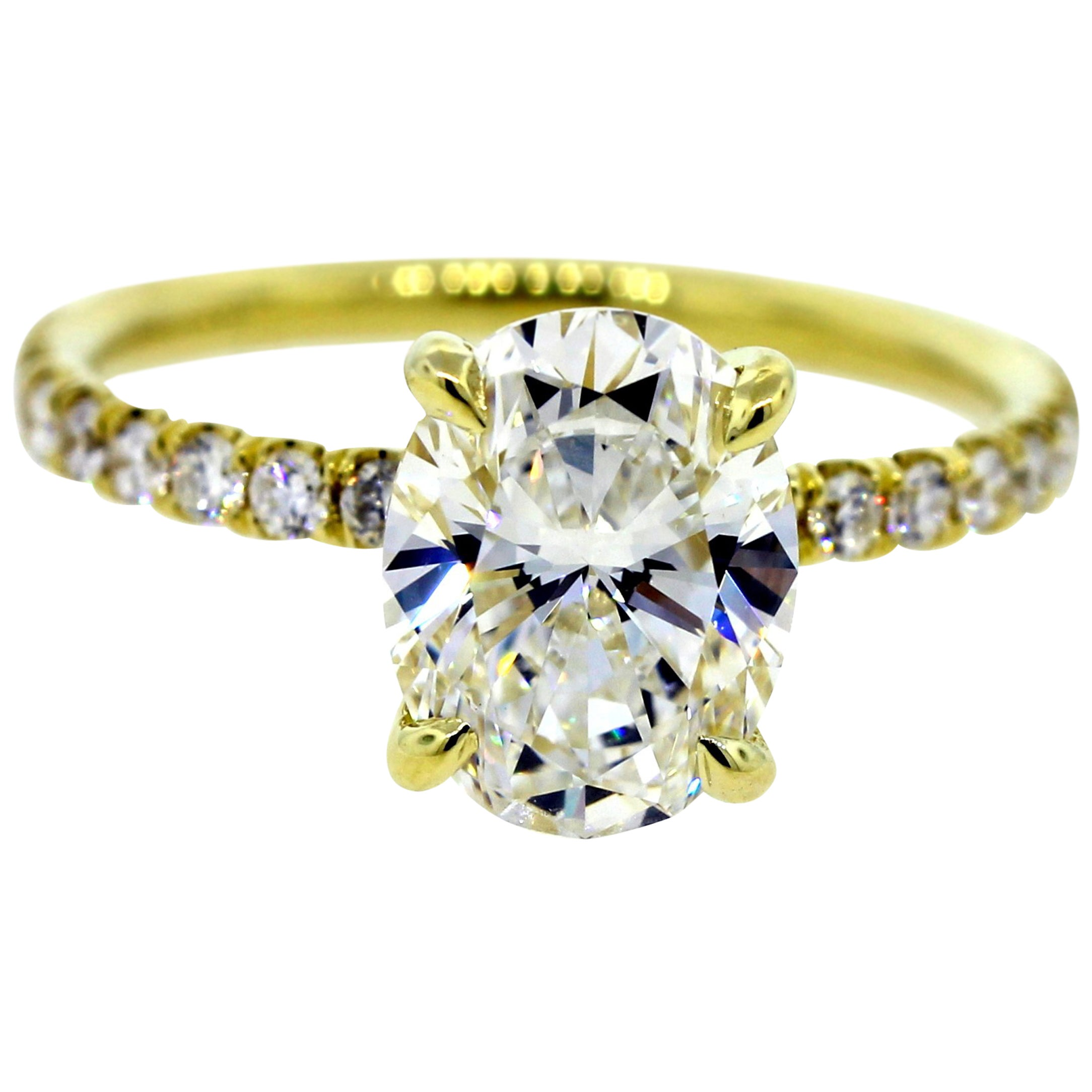 Oval Diamond Pave Engagement Ring 1.20 Carat GIA