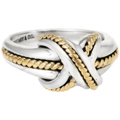 Tiffany & Co. Signature X Cross Ring Vintage Sterling Silver 18 Karat Gold