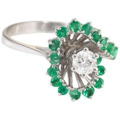 Emerald Diamond Cocktail Ring Vintage 14 Karat White Gold