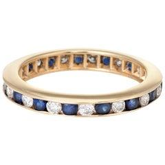 Sapphire Diamond Eternity Ring Vintage 14 Karat Gold