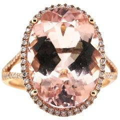 8.20 Carat Morganite Diamond Rose Gold Ring