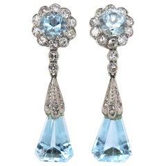 Original Art Deco Aquamarine and Diamond Dangle Earrings
