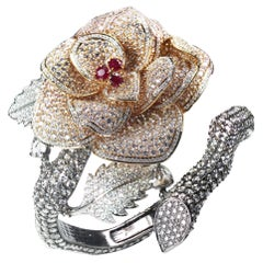 Studio Rêves Brilliant and Rose Cut Diamonds and Ruby Floral Cuff