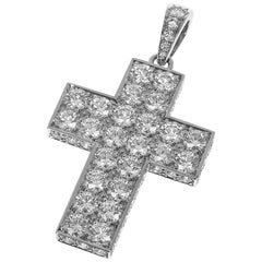 Cartier Diamond 18 Karat White Gold Cles de Budou Waal Cross Pendant Top
