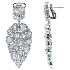 Studio Rêves 18K White Gold Brilliant cut and Rose cut Diamond Dangling Earrings