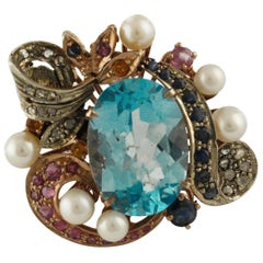 Diamonds Rubies Yellow Blue Sapphires Blue Topaz Pearls Rose Gold Silver Ring