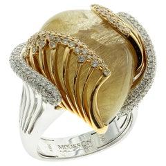 21.98 Carat Rutile Quartz 18 Karat Yellow and White Gold Ring