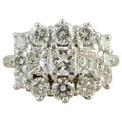 Modern 2.06 Carat Diamond Cluster Ring, Princess Cut and Brilliant Cut
