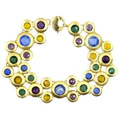Colorful Gemstone Satin Finished Gold Round Disk Link Bracelet