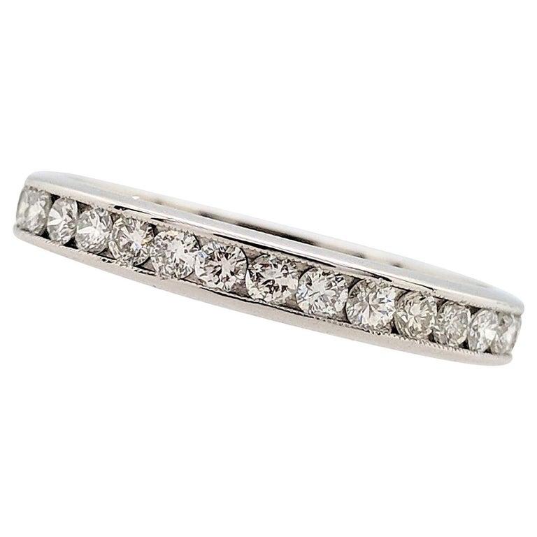 Platinum 1 Carat Round Diamond Eternity Wedding Band SI1/G