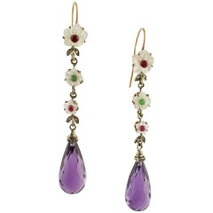 Diamonds Rubies Emeralds Amethysts Mother-of-Pearl Rose Gold and Silver Earrings