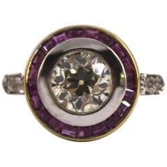 Renaissance Style 1.34 Carat White Diamond 0.80 Carat Ruby Yellow Gold Ring