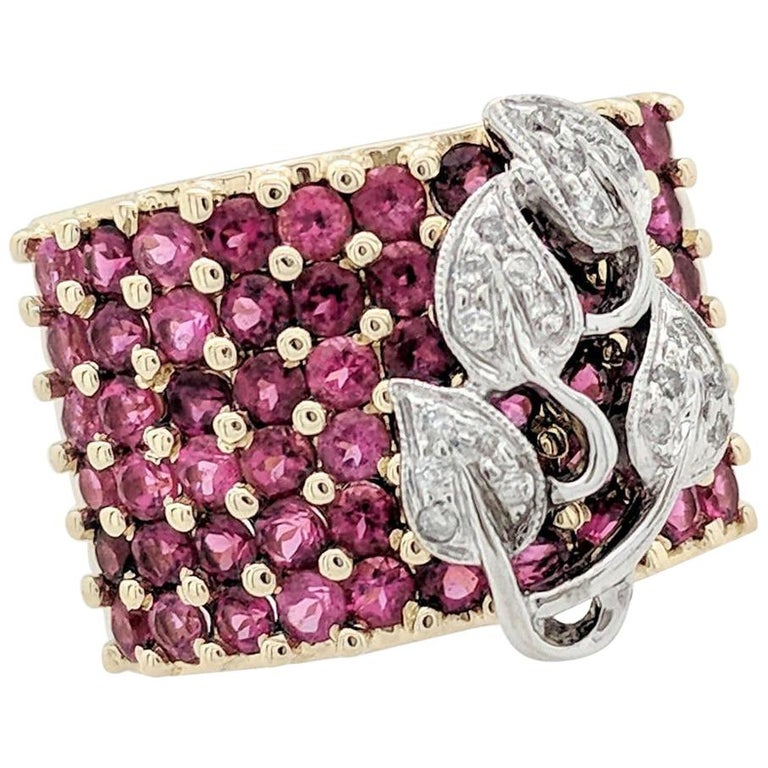 14 Karat Two-Tone Ruby and Diamond Right Hand Ring