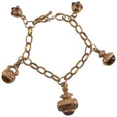 16.00 Carat Citrine 8.00 Carat Tourmaline 0.35 Carat Ruby Yellow Gold Bracelet