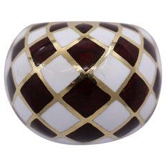 David Webb Harlequin Gold and Enamel Dome Ring