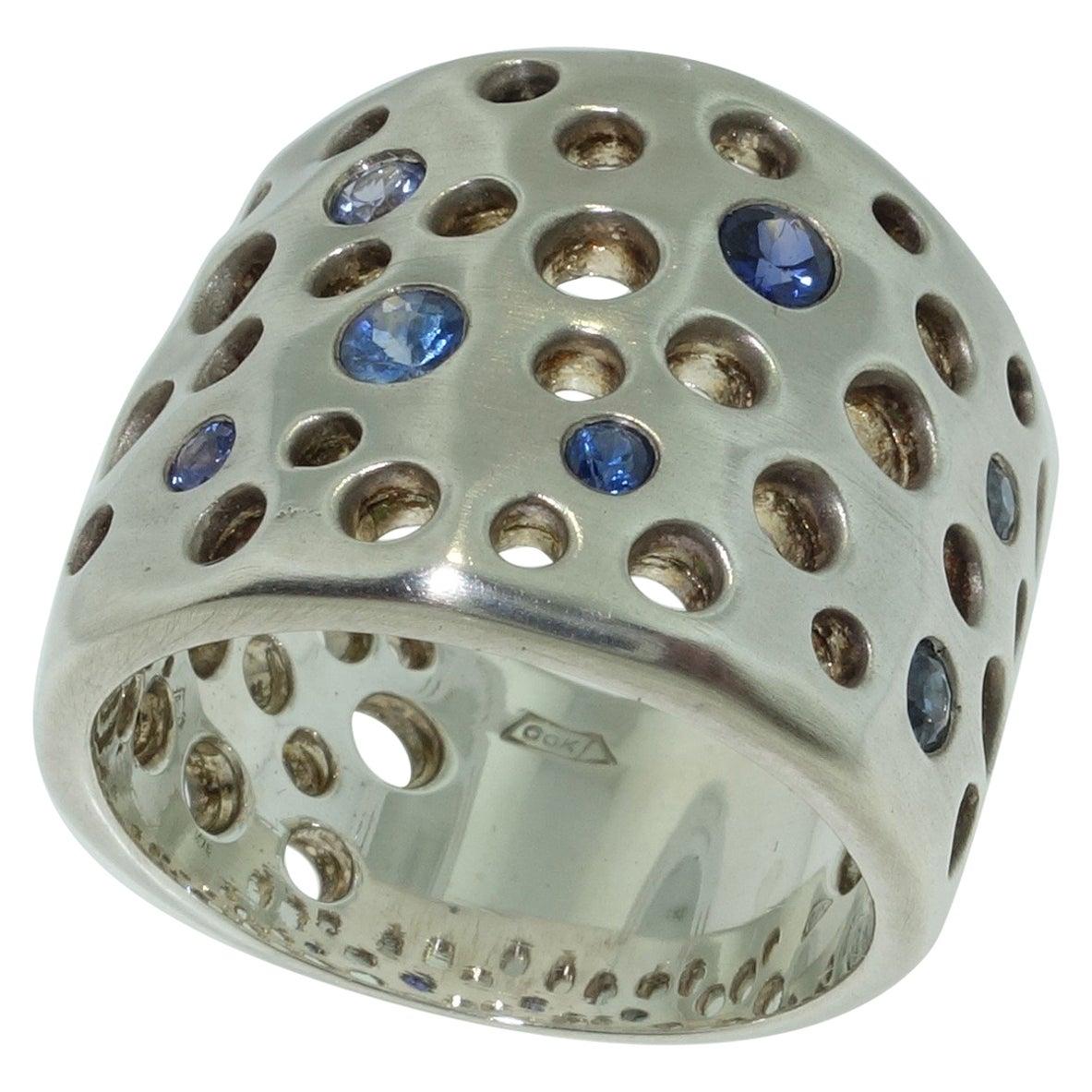 Blue Sapphire Gemstone Dome Ring Estate Fine Jewelry