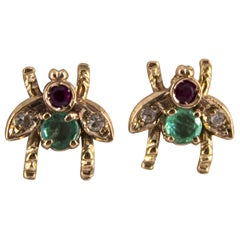 0.30 Carat Emerald Ruby 0.08 Carat White Diamond Yellow Gold Stud Flies Earrings
