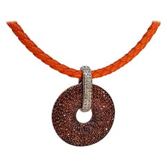 Orange Sapphire Diamond Gold Pendant Necklace
