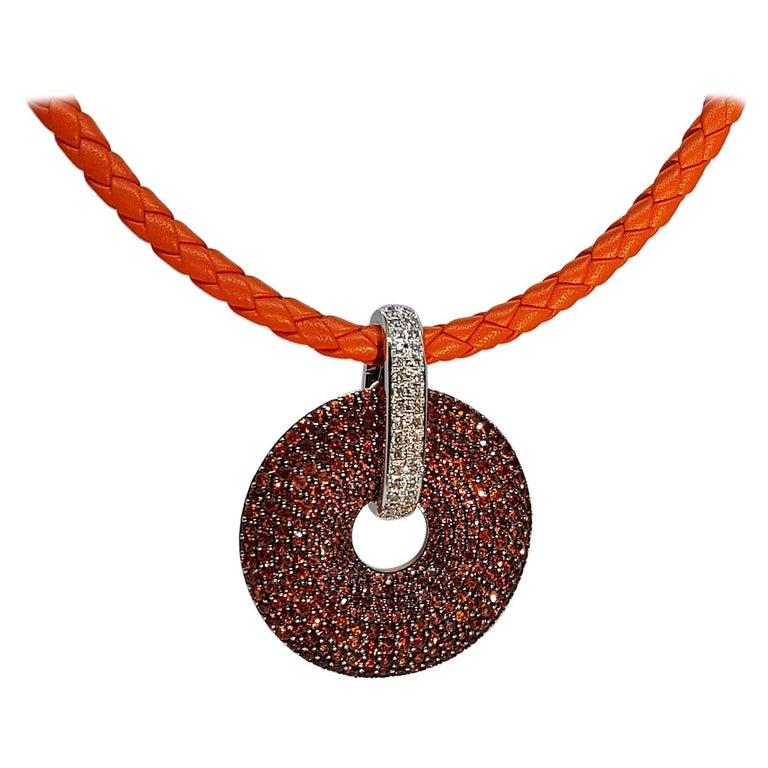 Orange Sapphire Diamond Gold Pendant Necklace