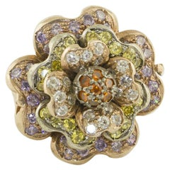Multicolored Hard Stones Rose Gold and Silver Fashion Flower Ring