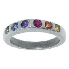 Multi-Color Sapphire Eternity Band Ring