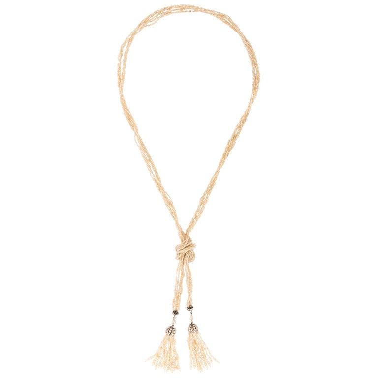 Victorian Platinum Natural Seed Pearl Necklace Lariat Tassel