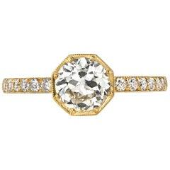 Octagonal Old European Cut Diamond Engagement Ring