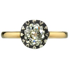 1.13 Carat Vintage Cushion Cut Diamond Two-Toned Ring