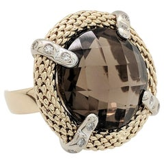 14 Karat Two-Tone Smoky Quartz and Diamond Right Hand Ring